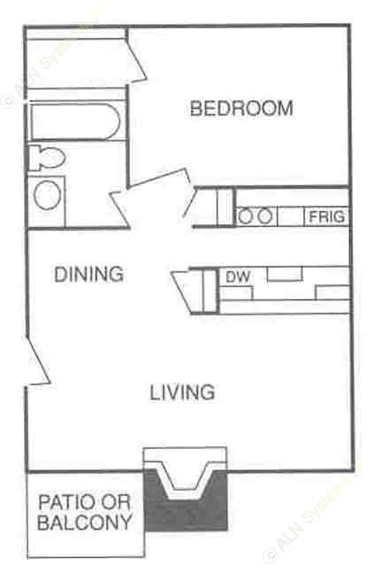 528 sq. ft. A-2 floor plan