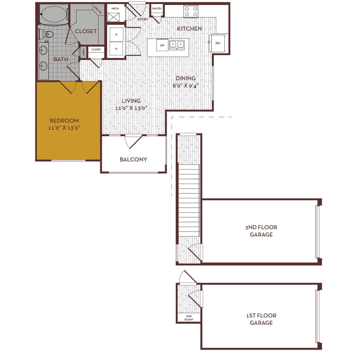 768 sq. ft. A3G1 floor plan