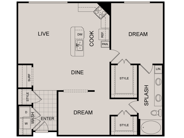 1,048 sq. ft. Brownstone floor plan
