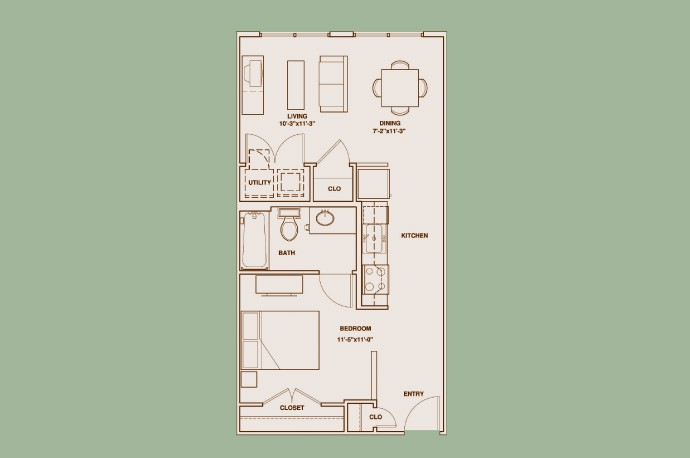 621 sq. ft. L1 floor plan