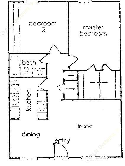 712 sq. ft. B floor plan