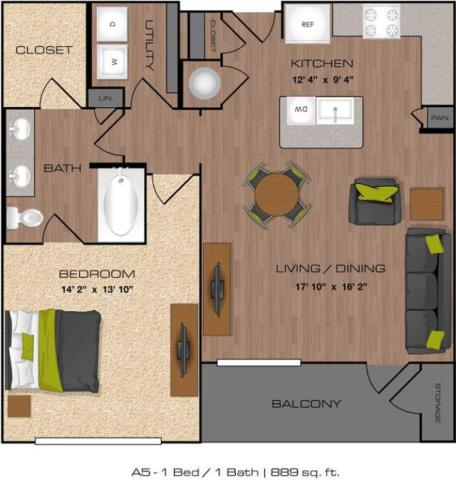 889 sq. ft. A5 floor plan