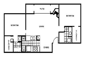 1,006 sq. ft. F floor plan
