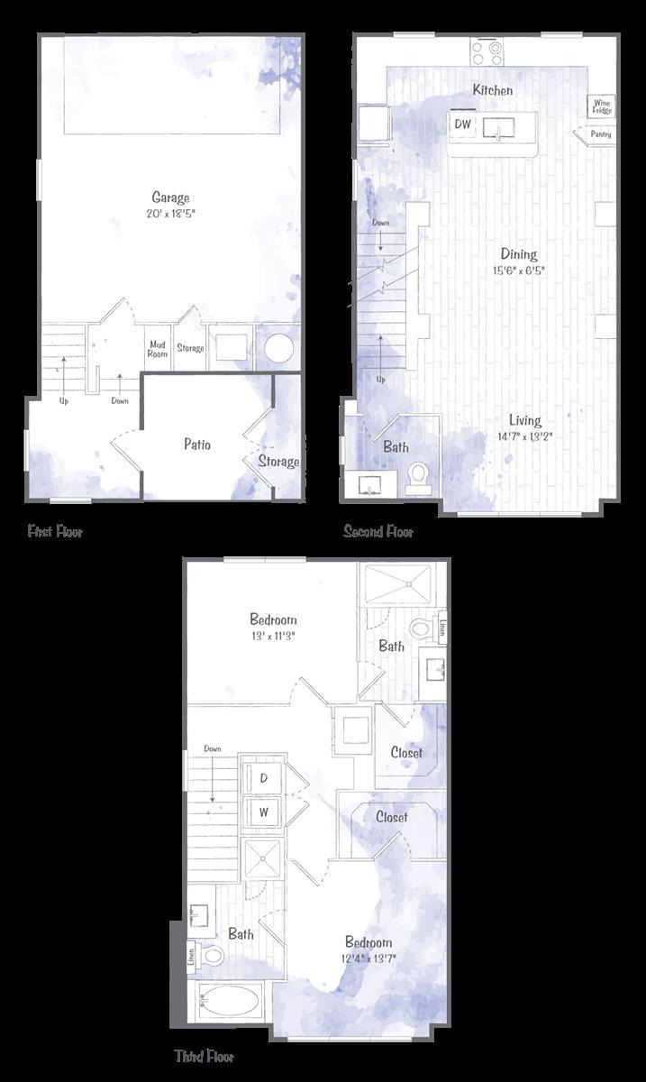 1,491 sq. ft. TH1 floor plan