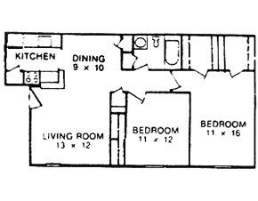 796 sq. ft. D floor plan
