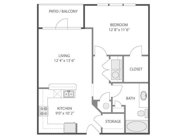 730 sq. ft. Acropolis/A3A floor plan
