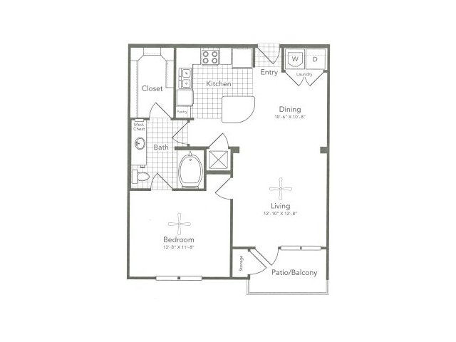 771 sq. ft. A4 East floor plan