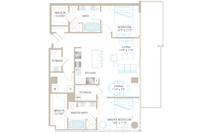 1,474 sq. ft. C8bP floor plan