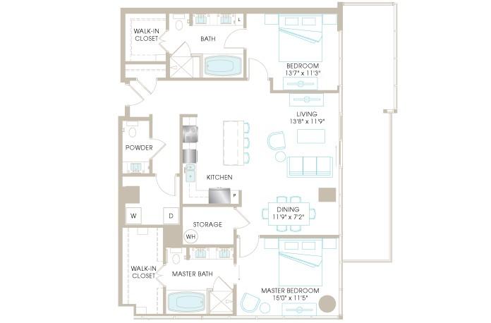 1,474 sq. ft. C8bP floor plan