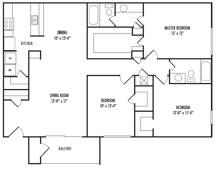 1,400 sq. ft. F floor plan