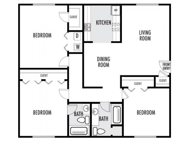 1,284 sq. ft. J floor plan