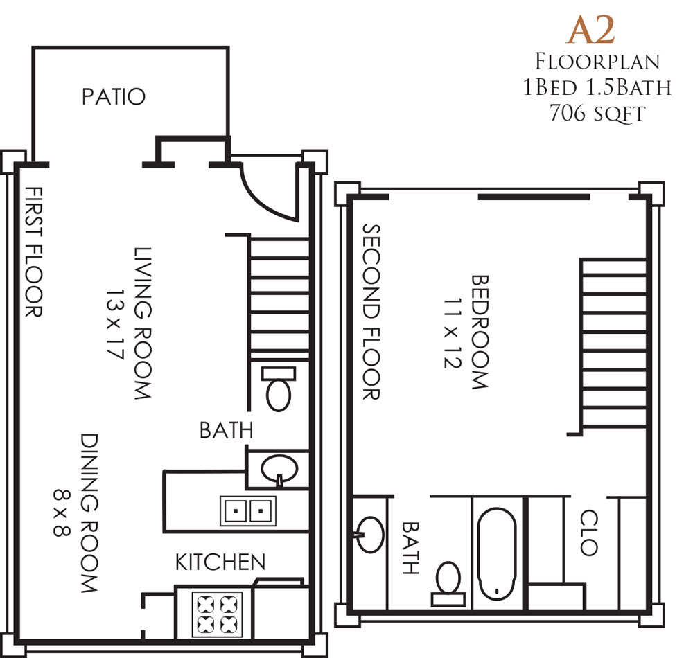 706 sq. ft. A2TH floor plan