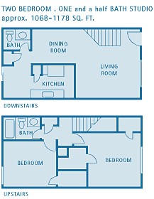 1,068 sq. ft. D floor plan