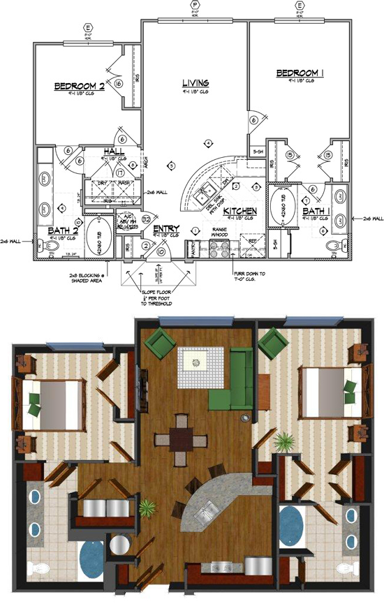 1,076 sq. ft. K-HC floor plan