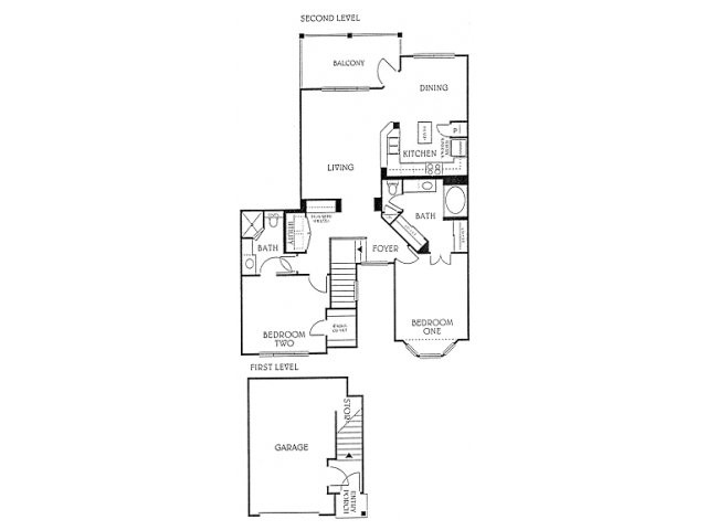 1,186 sq. ft. B3 floor plan