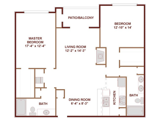 1,323 sq. ft. Burlington floor plan