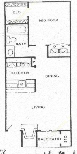 528 sq. ft. A3 floor plan