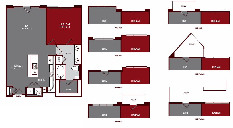 857 sq. ft. A3-E floor plan