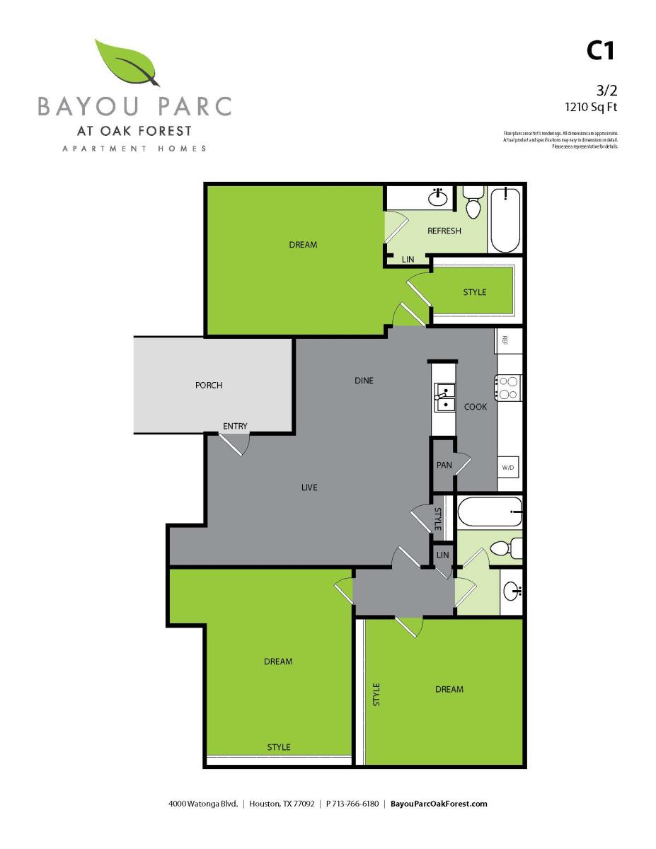 1,210 sq. ft. C1 floor plan
