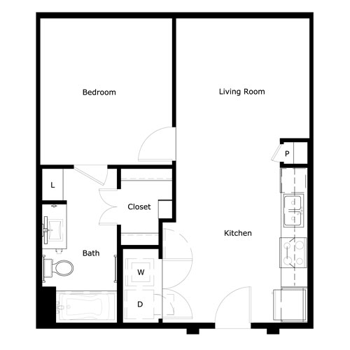 604 sq. ft. to 684 sq. ft. A-IIY floor plan