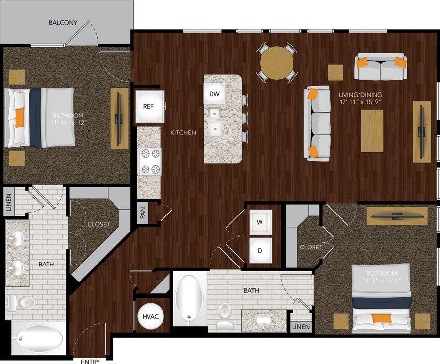 1,148 sq. ft. B3/B3A floor plan