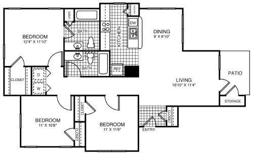 1,175 sq. ft. 50% floor plan
