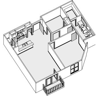 1,055 sq. ft. floor plan