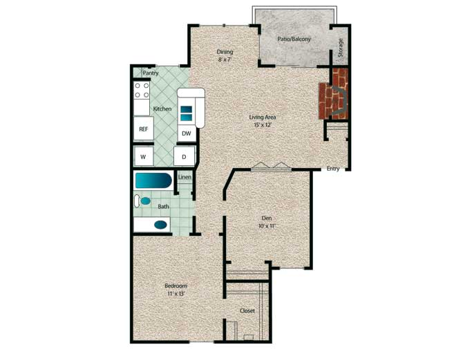 820 sq. ft. to 873 sq. ft. Cedar floor plan