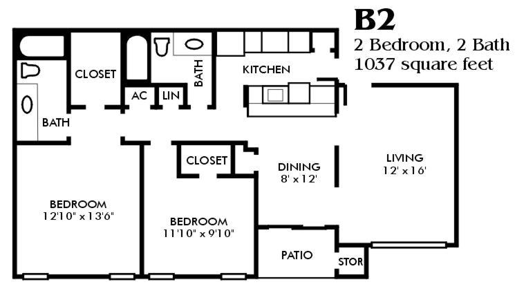 1,037 sq. ft. B2/Mkt floor plan