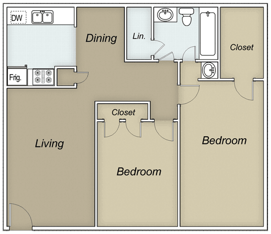 975 sq. ft. BROWNSTONE floor plan