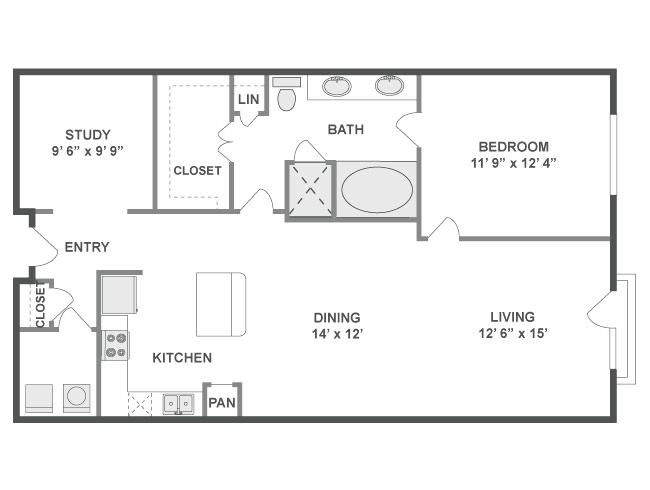 1,043 sq. ft. Pulse floor plan