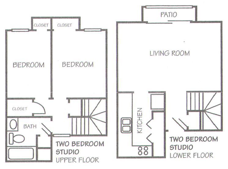 862 sq. ft. B-1 floor plan