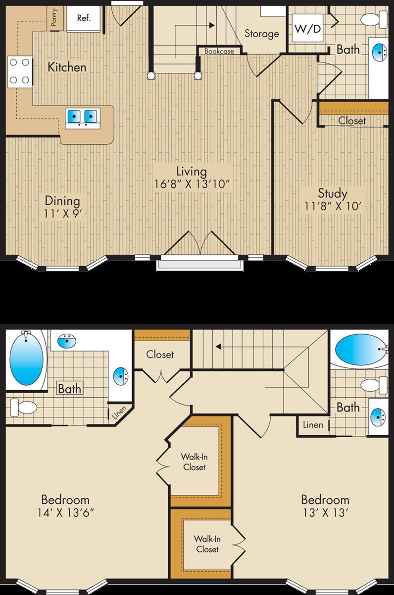1,491 sq. ft. H1 floor plan