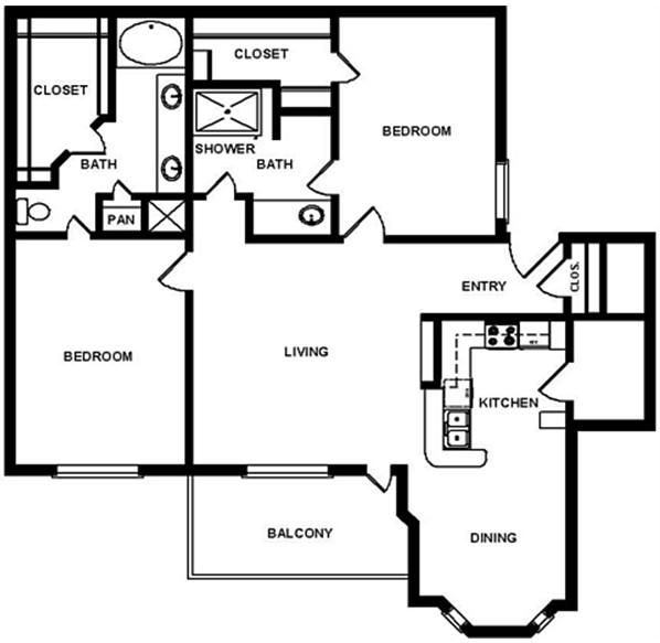 1,217 sq. ft. E1 floor plan