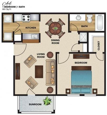 691 sq. ft. A4 floor plan