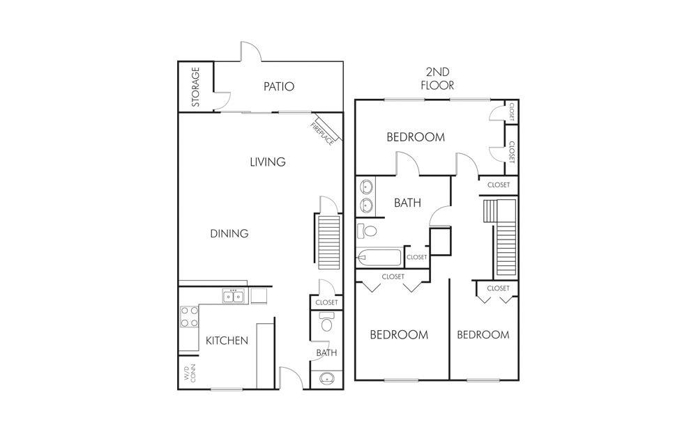 1,465 sq. ft. C1 floor plan