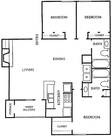 1,165 sq. ft. C1 floor plan