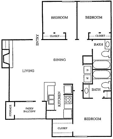 1,165 sq. ft. C1 floor plan