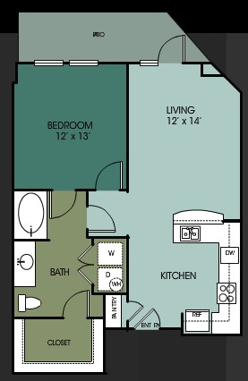 833 sq. ft. A8 floor plan