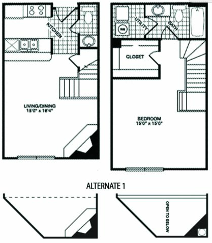 788 sq. ft. T2 floor plan