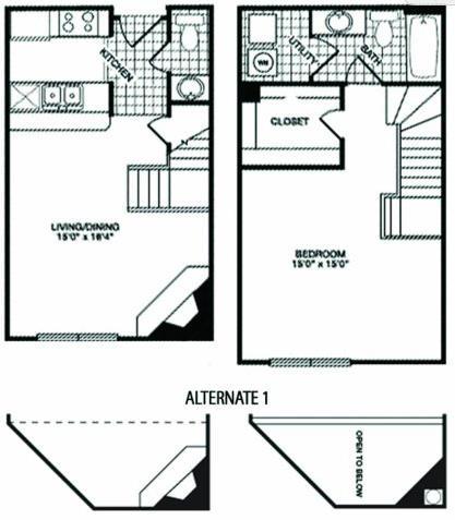 788 sq. ft. T2 floor plan