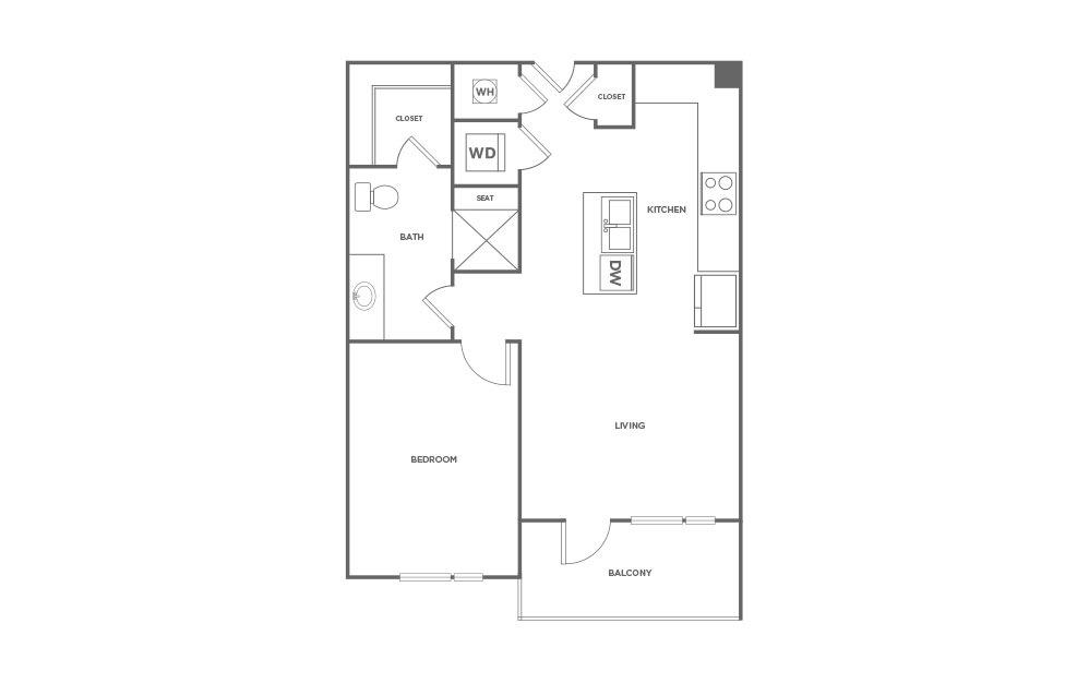696 sq. ft. A1 floor plan