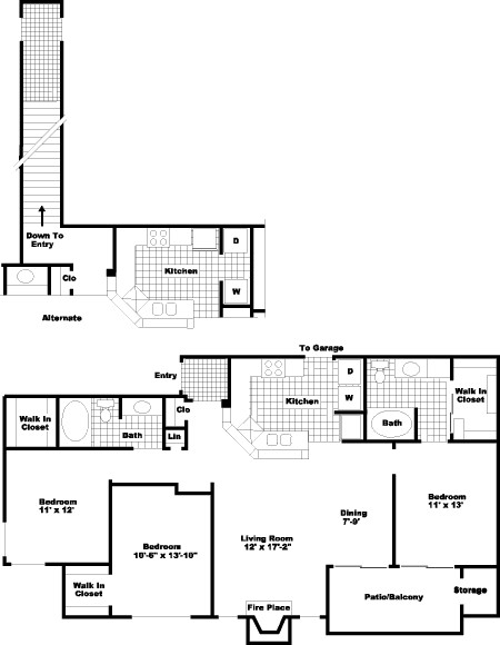 1,286 sq. ft. PH I floor plan