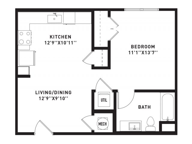 600 sq. ft. E6 floor plan
