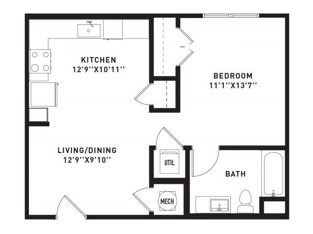 600 sq. ft. E6 floor plan