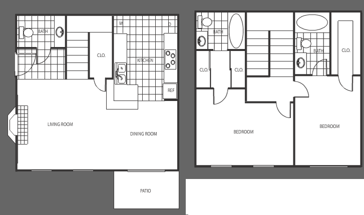 1,160 sq. ft. floor plan