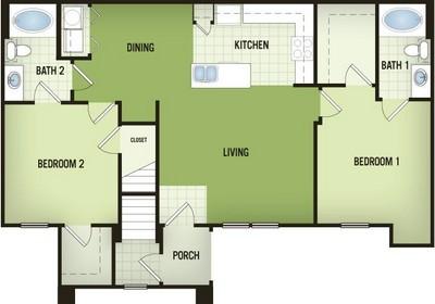 1,133 sq. ft. B2-G floor plan