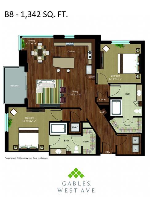 1,342 sq. ft. DB8 floor plan