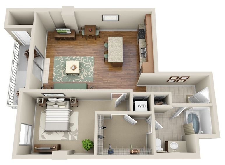 776 sq. ft. A5 floor plan