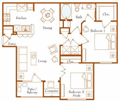 918 sq. ft. Hudson 21A floor plan